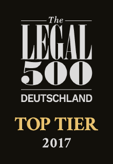 The Legal 500 Deutschland | TOP TIER 2017