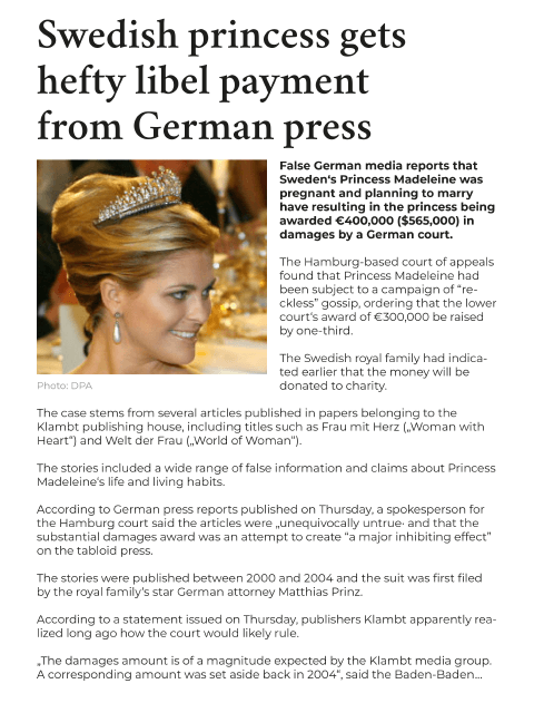 Damages & Enrichment, Swedish Princess gets hefty payment from German press